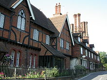 Pugin chimneys on listed houses in Albury